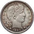 Barber Quarters: , 1893 25C MS64+ PCGS. CAC. PCGS Population (69/36). NGC Census:(70/34). Mintage: 5,444,815. Numismedia Wsl. Price for probl...