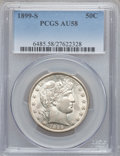 Barber Half Dollars: , 1899-S 50C AU58 PCGS. PCGS Population (12/53). NGC Census: (6/46).Mintage: 1,686,411. Numismedia Wsl. Price for problem fr...