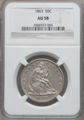 Seated Half Dollars: , 1863 50C AU58 NGC. NGC Census: (5/62). PCGS Population (4/62).Mintage: 503,200. Numismedia Wsl. Price for problem free NGC...