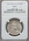 Seated Half Dollars: , 1853 50C Arrows and Rays AU55 NGC. NGC Census: (115/559). PCGSPopulation (99/440). Mintage: 3,532,708. Numismedia Wsl. Pri...
