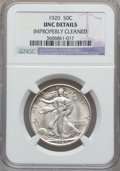 Walking Liberty Half Dollars: , 1920 50C -- Improperly Cleaned -- NGC Details. Unc. NGC Census:(5/590). PCGS Population (8/786). Mintage: 6,372,000. Numis...