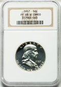 Proof Franklin Half Dollars, 1957 50C PR68 White Cameo NGC. NGC Census: (324/17). PCGSPopulation (160/0). Numismedia Wsl. Price for problem free NGC/P...