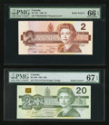 "Canadian Currency: , BC-55b $2 1986 with ""Radar"" Serial Number 2822282. BC-58d $20 1991 with ""Radar"" Serial Number 4474744. ... (Total: 2 notes)"