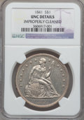 Seated Dollars: , 1841 $1 -- Improperly Cleaned -- NGC Details. Unc. NGC Census:(3/42). PCGS Population (4/42). Mintage: 173,000. Numismedia...