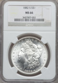 Morgan Dollars: , 1882-S $1 MS66 NGC. NGC Census: (6235/1739). PCGS Population(4456/779). Mintage: 9,250,000. Numismedia Wsl. Price for prob...