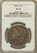 Morgan Dollars: , 1889-CC $1 VG10 NGC. NGC Census: (185/3040). PCGS Population(313/4633). Mintage: 350,000. Numismedia Wsl. Price for proble...