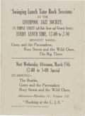 Music Memorabilia:Posters, Beatles Liverpool Jazz Society Handbill (1961)....