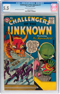 Challengers of the Unknown #1 (DC, 1958) CGC FN- 5.5 Cream to off-white pages