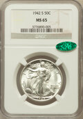 Walking Liberty Half Dollars: , 1942-S 50C MS65 NGC. CAC. NGC Census: (1131/198). PCGS Population(2263/415). Mintage: 12,708,000. Numismedia Wsl. Price fo...