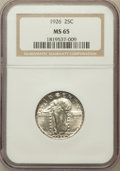 Standing Liberty Quarters: , 1926 25C MS65 NGC. NGC Census: (111/27). PCGS Population (150/37).Mintage: 11,316,000. Numismedia Wsl. Price for problem f...