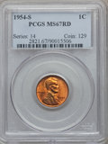 Lincoln Cents: , 1954-S 1C MS67 Red PCGS. PCGS Population (197/0). NGC Census:(646/0). Mintage: 96,190,000. Numismedia Wsl. Price for probl...