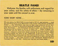 Music Memorabilia:Memorabilia, The Beatles Shea Stadium Info Card (Sid Bernstein, 1966)....