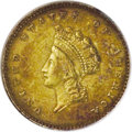 1856-S G$1 Type Two--Cleaned--ANACS. AU50 Details. NGC Census: (16/164). PCGS Population (25/89). Mintage: 24,600. Numis...