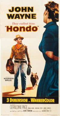 "Hondo (Warner Brothers, 1953). Three Sheet (41"" X 80"") 3-D Style"