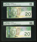 Canadian Currency: , BC-64a $20 2002 Two Examples, including One Note with Low SerialNumber AYV0001600. ... (Total: 2 notes)