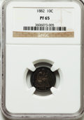 Proof Seated Dimes: , 1882 10C PR65 NGC. NGC Census: (51/50). PCGS Population (43/28).Mintage: 1,100. Numismedia Wsl. Price for problem free NGC...