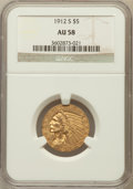 Indian Half Eagles: , 1912-S $5 AU58 NGC. NGC Census: (543/247). PCGS Population(151/173). Mintage: 392,000. Numismedia Wsl. Price for problem f...