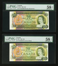Canadian Currency: , BC-50a $20 1969. BC-50b $20 1969. ... (Total: 2 notes)