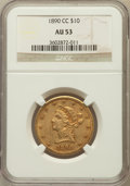 Liberty Eagles: , 1890-CC $10 AU53 NGC. NGC Census: (26/327). PCGS Population(31/210). Mintage: 17,500. Numismedia Wsl. Price for problem fr...