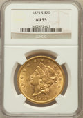 Liberty Double Eagles: , 1875-S $20 AU55 NGC. NGC Census: (423/2441). PCGS Population(352/1060). Mintage: 1,230,000. Numismedia Wsl. Price for prob...