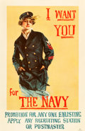 """Movie Posters:War, World War I Propaganda (U.S. Navy, 1917). Poster (27"""" X 41"""") """"IWant You for the Navy."""". ..."""