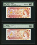"Canadian Currency: , BC-47a-i $2 1974, Two Examples with ""Radar"" Serial Numbers 8833388and 0666660. ... (Total: 2 notes)"