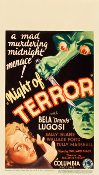 "Night of Terror (Columbia, 1933). Midget Window Card (8"" X 14"")"