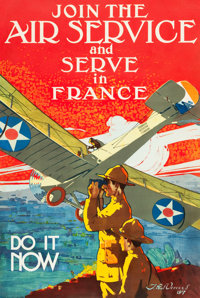 "World War I Propaganda (U.S. Government, 1917). Recruitment Poster (25"" X 36.75"") ""Join the Air Service a..."