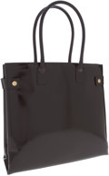 Luxury Accessories:Bags, Gucci Brown Patent Leather Structured Tote with Snap Button SideClosures. ...