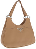 Luxury Accessories:Bags, Prada Beige Leather Hobo Bag with Snap Closure. ...