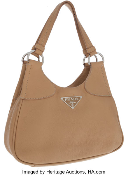 Luxury Accessories Bags Prada Beige Leather Hobo Bag With Snap Closure
