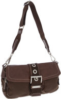 Luxury Accessories:Bags, Prada Brown Leather and Nylon Shoulder Bag with Silver Hardware....