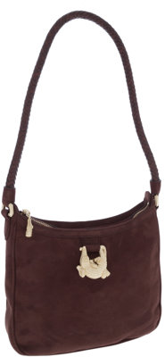 Kieselstein Cord Brown Suede Shoulder Bag with GOld Alligator Closure