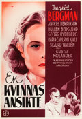 "Movie Posters:Drama, A Woman's Face (Svensk Filmindustri, 1938). Swedish One Sheet(27.5"" X 39.5"").. ..."