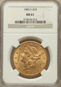 Liberty Double Eagles: , 1883-S $20 MS61 NGC. NGC Census: (707/496). PCGS Population(476/902). Mintage: 1,189,000. Numismedia Wsl. Price for proble...