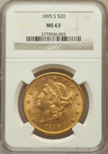 Liberty Double Eagles: , 1895-S $20 MS63 NGC. NGC Census: (642/165). PCGS Population(836/178). Mintage: 1,100,000. Numismedia Wsl. Price for proble...