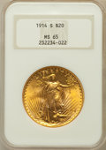 Saint-Gaudens Double Eagles: , 1914-S $20 MS65 NGC. NGC Census: (1343/147). PCGS Population(1941/103). Mintage: 1,498,000. Numismedia Wsl. Price for prob...