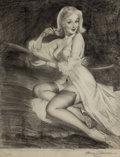 Pin-up and Glamour Art, HARRY EKMAN (American, 1923-1999). Pin-Up on the Telephone,preliminary sketch. Pencil and charcoal pencil on vellum. 18...