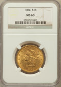Liberty Eagles: , 1904 $10 MS63 NGC. NGC Census: (106/44). PCGS Population (165/42).Mintage: 161,900. Numismedia Wsl. Price for problem free...