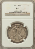 Walking Liberty Half Dollars: , 1921-D 50C Fine 12 NGC. NGC Census: (80/339). PCGS Population(121/510). Mintage: 208,000. Numismedia Wsl. Price for proble...