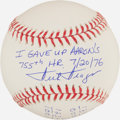 Autographs:Bats, Dick Drago Single Signed, Stat Inscribed Baseball - Gave Up Aaron's755th HR....