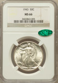 Walking Liberty Half Dollars: , 1943 50C MS66 NGC. CAC. NGC Census: (2842/532). PCGS Population(2946/377). Mintage: 53,190,000. Numismedia Wsl. Price for ...