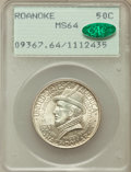 Commemorative Silver: , 1937 50C Roanoke MS64 PCGS. CAC. PCGS Population (1703/3664). NGCCensus: (773/2706). Mintage: 29,030. Numismedia Wsl. Pric...