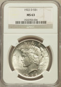 Peace Dollars: , 1922-D $1 MS63 NGC. NGC Census: (1624/3909). PCGS Population(2898/4442). Mintage: 15,063,000. Numismedia Wsl. Price for pr...