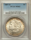 Morgan Dollars: , 1887-O $1 MS63 PCGS. PCGS Population (3743/2815). NGC Census:(4190/1943). Mintage: 11,550,000. Numismedia Wsl. Price for p...