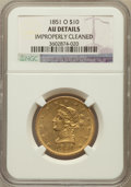 Liberty Eagles: , 1851-O $10 -- Improperly Cleaned -- NGC Details. AU. NGC Census:(102/481). PCGS Population (70/115). Mintage: 263,000. Num...