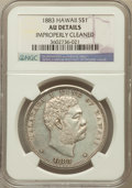 Coins of Hawaii: , 1883 $1 Hawaii Dollar -- Improperly Cleaned -- NGC Details. AU. NGCCensus: (24/171). PCGS Population (61/193). Mintage: 50...