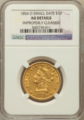 Liberty Eagles: , 1854-O $10 Small Date -- Improperly Cleaned -- NGC Details. AU. NGCCensus: (17/147). PCGS Population (21/41). Mintage: 52,...
