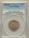 Liberty Nickels: , 1912-D 5C MS63 PCGS. PCGS Population (198/464). NGC Census:(140/420). Mintage: 8,474,000. Numismedia Wsl. Price for proble...