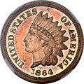 Proof Indian Cents, 1864 1C Copper Nickel PR63 Ultra Cameo NGC. CAC....